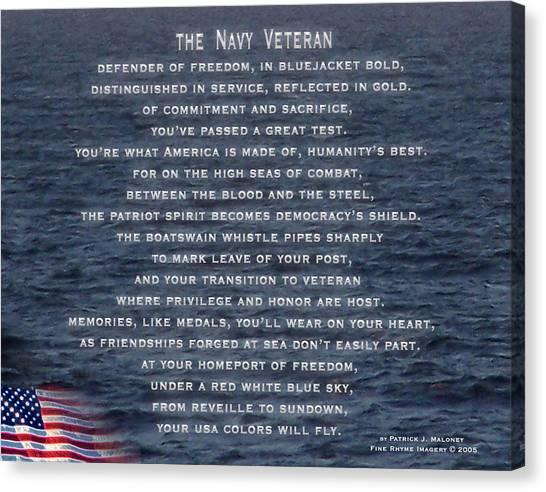 The Navy Veteran Canvas Print by Patrick J Maloney