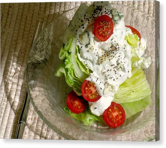 Salad Dressing Canvas Print - The New Classic Iceberg Wedge Salad With Chunky Blue Cheese/dill Dressing by James Temple