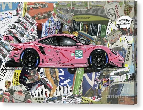 Cobra Canvas Print - The New Porsche Pink Pig by Alain Baudouin