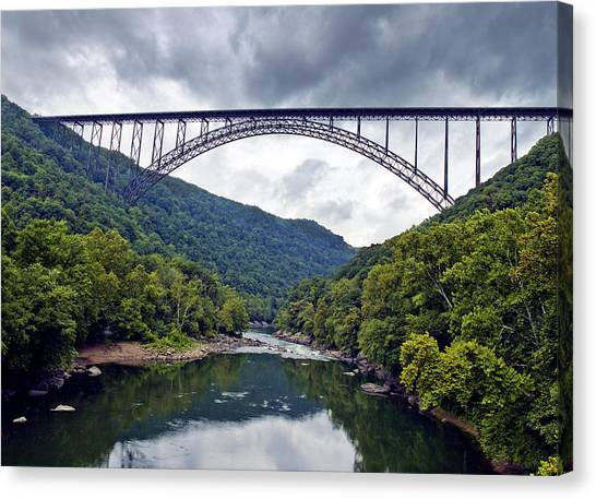 West Virginia Canvas Print - The New River Gorge Bridge In West Virginia by Brendan Reals