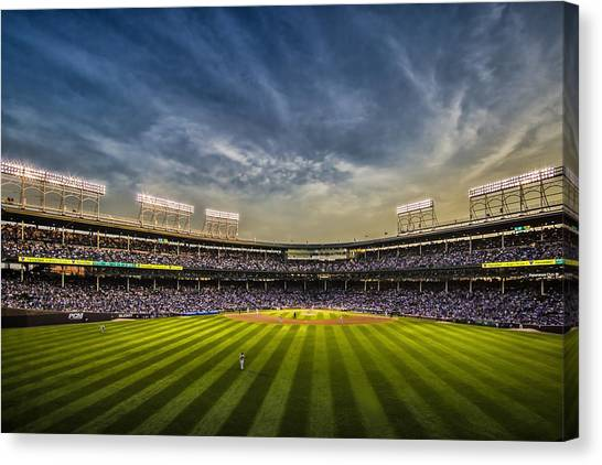 The New Wrigley Field With Pretty Sunset Sky Canvas Print