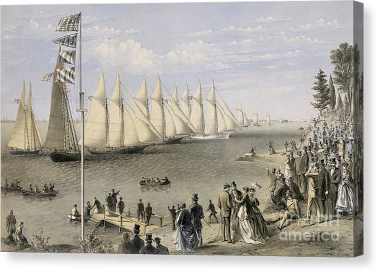 Currier And Ives Canvas Print - The New York Yacht Club Regatta, 1869 by Currier and Ives