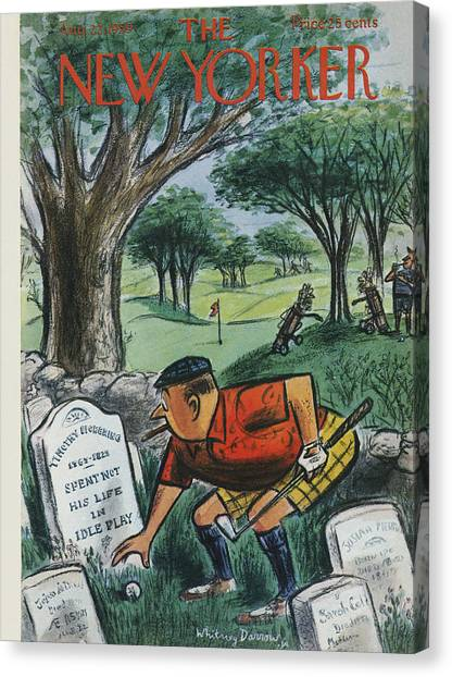 Hole In One Canvas Print - The New Yorker Cover - August 22nd, 1959 by Whitney Darrow