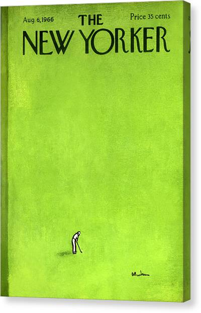Golf Canvas Print - The New Yorker Cover - August 6th, 1966 by Abe Birnbaum