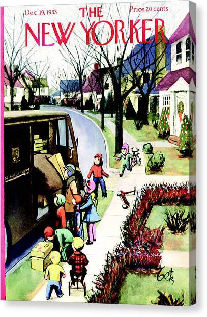 The New Yorker Cover - December 19th, 1953 Canvas Print by Conde Nast