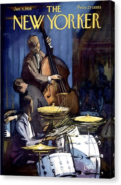 Drums Canvas Print - The New Yorker Cover - January 4th, 1958 by Arthur Getz