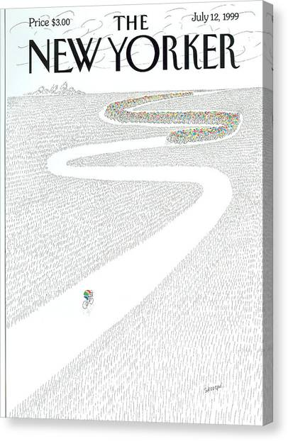 Tour De France Canvas Print - The New Yorker Cover - July 12th, 1999 by Jean-Jacques Sempe