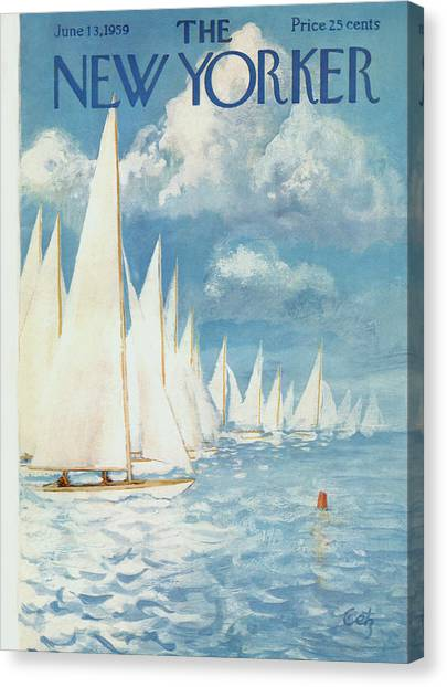 Yacht Canvas Print - The New Yorker Cover - June 13th, 1959 by Arthur Getz