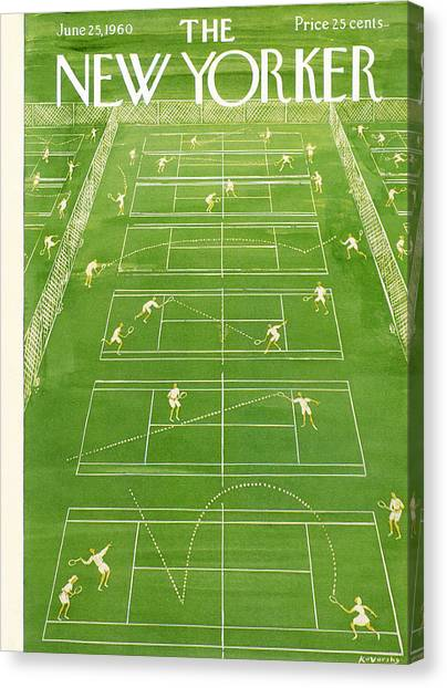 Tennis Canvas Print - The New Yorker Cover - June 25th, 1960 by Anatol Kovarsky