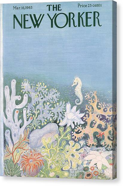 Seahorses Canvas Print - The New Yorker Cover - March 16th, 1963 by Ilonka Karasz