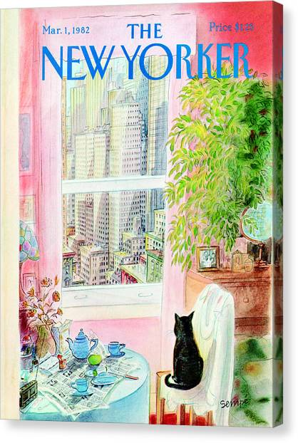 Kittens Canvas Print - The New Yorker Cover - March 1st, 1982 by Jean-Jacques Sempe
