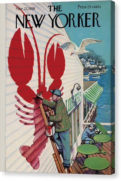 Lobster Canvas Print - The New Yorker Cover - March 22nd, 1958 by Arthur Getz