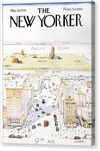 Queens Canvas Print - View From 9th Avenue by Saul Steinberg