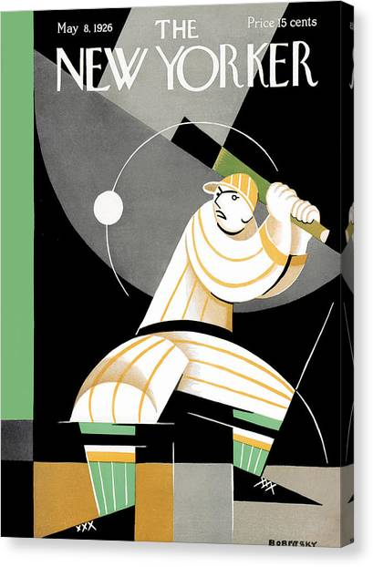 Softball Canvas Print - The New Yorker Cover - May 8th, 1926 by Victor Bobritsky