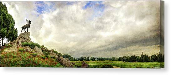 Hamels Canvas Print - The Newfoundland Caribou And The Trenches - Vintage Version by Weston Westmoreland