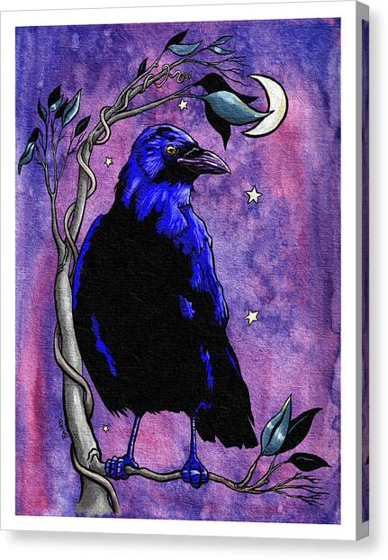 The Night Raven Canvas Print by Baird Hoffmire