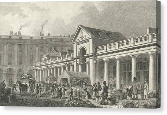 Garden Scene Canvas Print - The North West Facade Of The New Covent Garden Market by Thomas Hosmer Shepherd