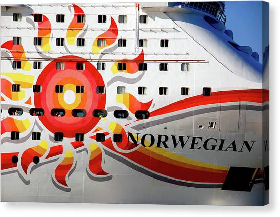 Cabin Window Canvas Print - The Norwegian Sun Bow by Susanne Van Hulst