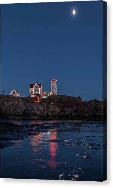 The Nubble Waiting For Snow Canvas Print