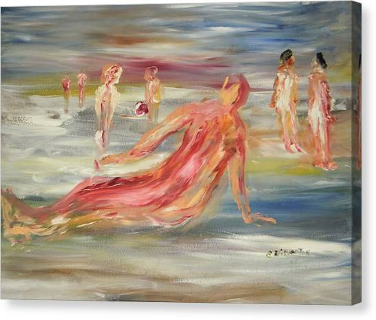 The Nude Beach Canvas Print by Edward Wolverton