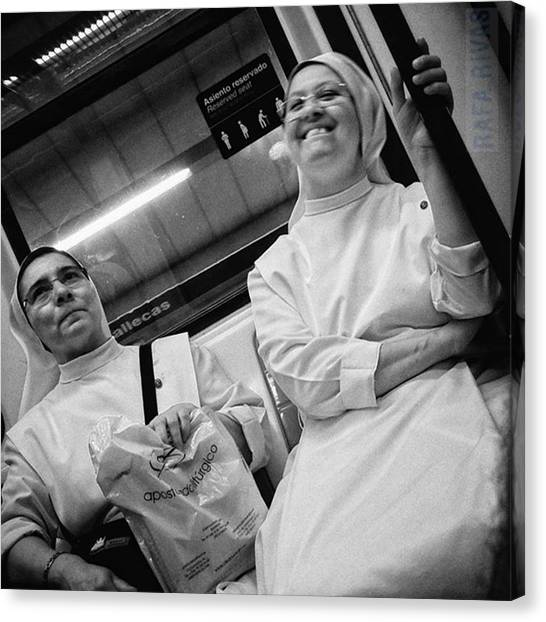 Women Canvas Print - The Nun's Fun  #nun #people by Rafa Rivas
