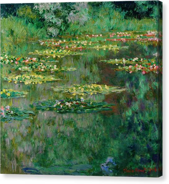 Lyrical Abstraction Canvas Print - The Nympheas Basin by Claude Monet