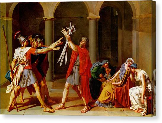 Centurion Canvas Print - The Oath Of The Horatii by Jacques Louis David