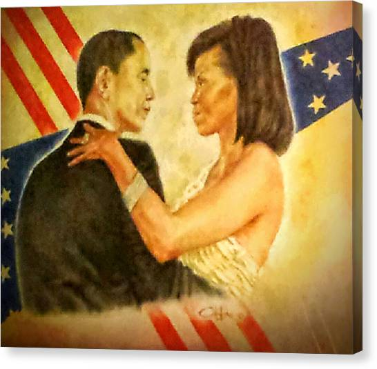 Barack And Michelle Canvas Print