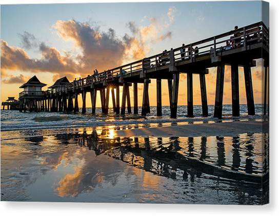 Naples Pier At Sunset Naples Florida Ripples Canvas Print