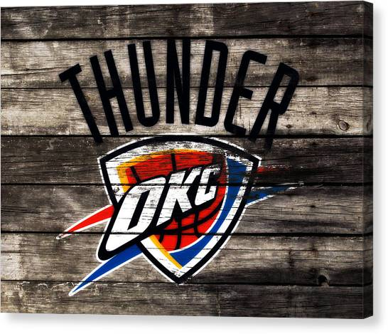 Utah Jazz Canvas Print - The Oklahoma City Thunder W10           by Brian Reaves