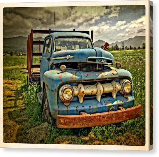 The Blue Classic 48 To 52 Ford Truck Canvas Print