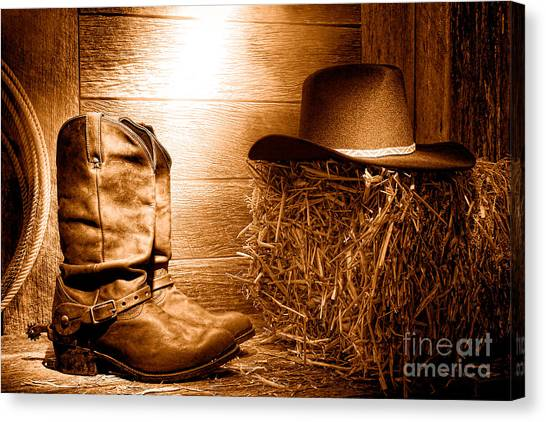Cowboy Boots Canvas Print - The Old Boots - Sepia by Olivier Le Queinec