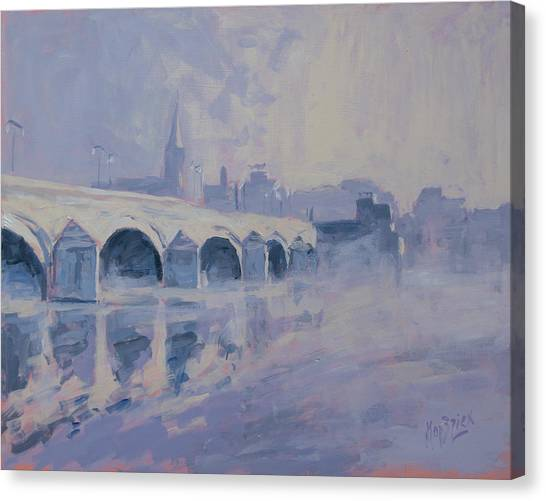 Canvas Print - The Old Bridge In Morning Fog Maastricht by Nop Briex