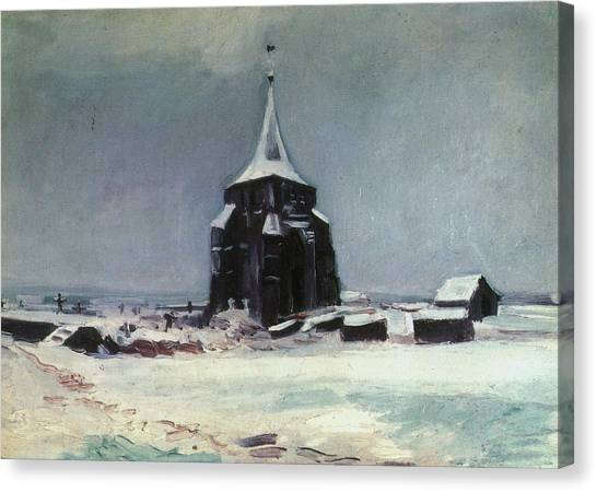 Church Yard Canvas Print - The Old Cemetery Tower At Nuenen In The Snow, 1885 by Vincent Van Gogh