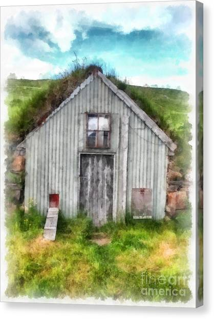 Chicken Farms Canvas Print - The Old Chicken Coop Iceland Turf Barn by Edward Fielding