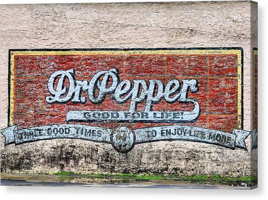 Dr. Pepper Canvas Print - The Old Dr Pepper Wall by JC Findley
