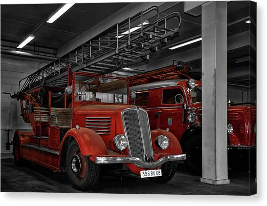 Firefighters Canvas Print - The Old Fire Trucks by Joachim G Pinkawa