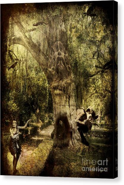 Canvas Print featuring the digital art The Old Goat Tree by Rhonda Strickland