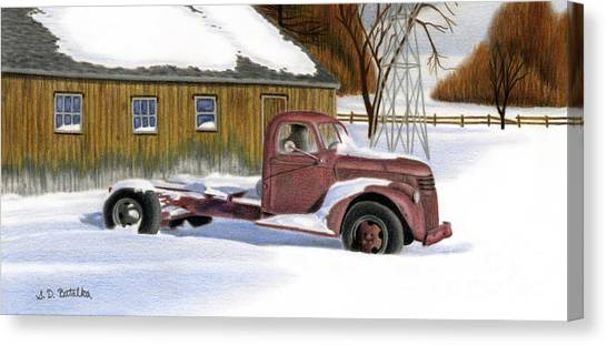 Vintage Chevy Truck Canvas Print - The Old Jalopy by Sarah Batalka