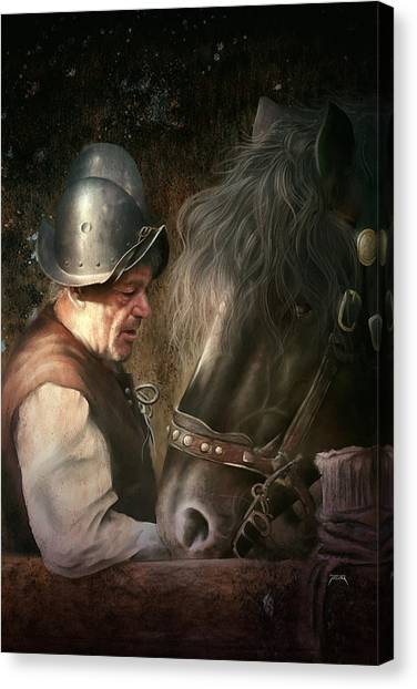 Canvas Print featuring the digital art The Old Man And His Trusty Friend by Uwe Jarling
