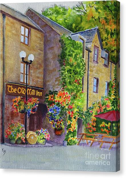 Canvas Print featuring the painting The Old Mill Inn by Karen Fleschler