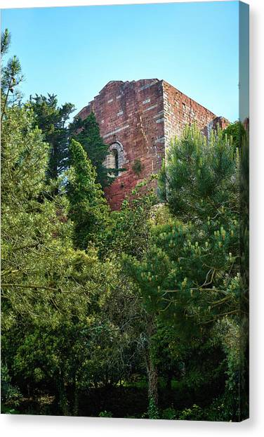 The Old Monastery Of Escornalbou Surrounded By Trees In Spain Canvas Print