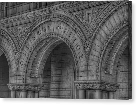 Post-modern Art Canvas Print - The Old Post Office Sign Now Trump International Hotel In Washington D.c.  - Black And White by Marianna Mills