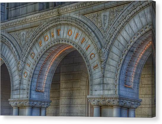 Post-modern Art Canvas Print - The Old Post Office Sign Now Trump International Hotel In Washington D.c.  by Marianna Mills