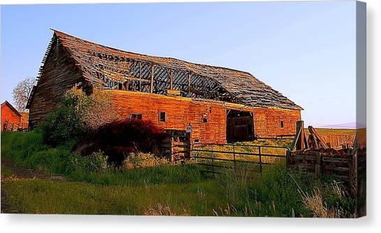 Brown Ranch Trail Canvas Print - The Ole Barn by Steve Warnstaff