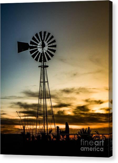 Desert Sunrises Canvas Print - The Old Windmill by Robert Bales