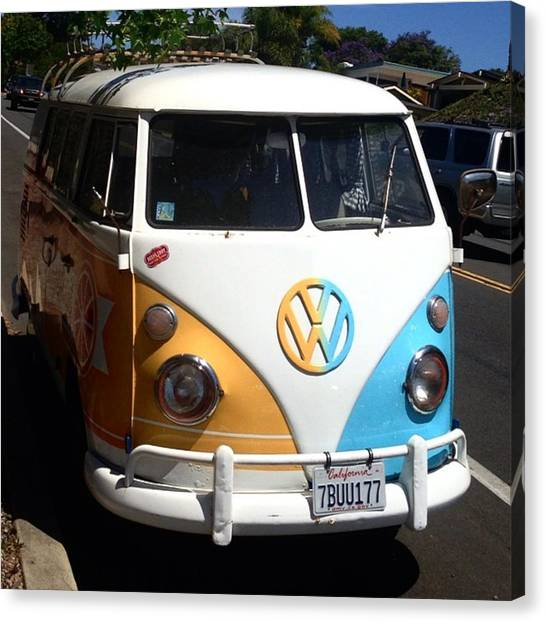 Microbus Canvas Print - The Only Thing That Makes A Beach Day by Caroline B