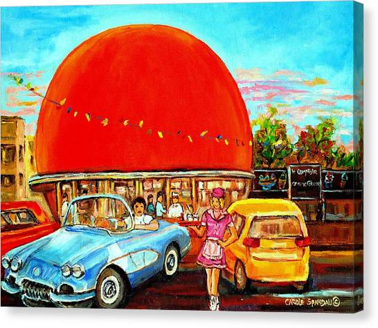 American Jewish Artists Canvas Print - The Orange Julep Montreal by Carole Spandau