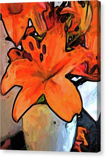 The Orange Lilies In The Mother Of Pearl Vase Canvas Print