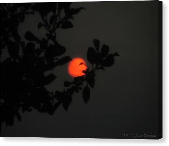 Fire Ball Canvas Print - The Orange Sun Sets by Joyce Dickens